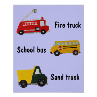 Customizable school bus, fire and sand truck poster