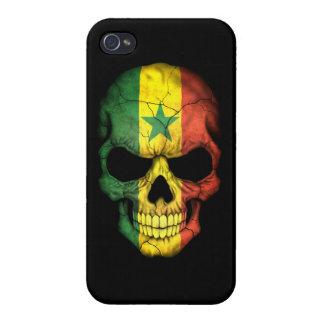 Customizable Senegal Flag Skull iPhone 4 Covers