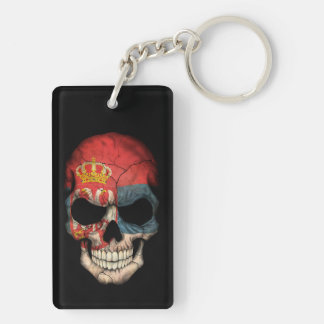 Customizable Serbian Flag Skull Keychain