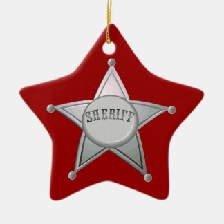 Customizable Sheriff Badge Star Officer Design Ceramic Ornament
