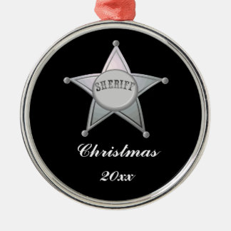 Customizable Sheriff Badge Star Officer Design Metal Ornament