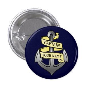 Customizable Ship Captain Your Name Anchor 2 1 Inch Round Button