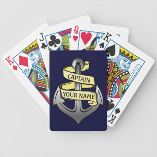 Customizable Ship Captain Your Name Anchor Bicycle Playing Cards