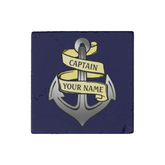 Customizable Ship Captain Your Name Anchor Stone Magnets