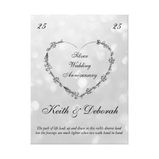 Customizable Silver Anniversary Canvas Print