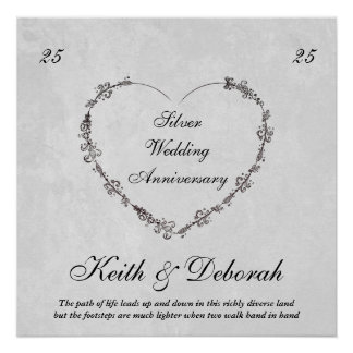 Customizable Silver Anniversary Poster