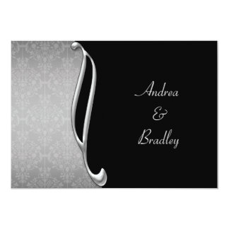 Customizable Silver Black Flourish Wedding Invite