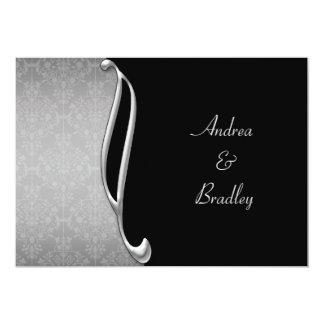 Customizable Silver & Black Wedding Invitation