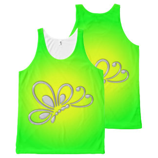 Customizable Silver Butterfly Profile Green Sunset All-Over-Print Tank Top