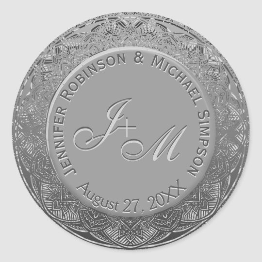 Customizable Silver Monogram Wedding Seal