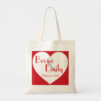 Customizable simple red white heart wedding bag