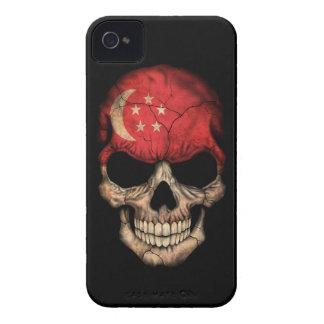 Customizable Singapore Flag Skull iPhone 4 Case-Mate Cases