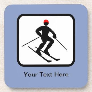Customizable Skier Logo Coaster