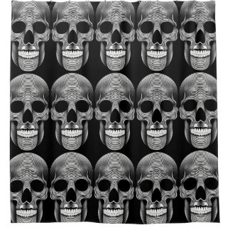 customizable skull pop shower curtain