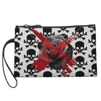 customizable skull rose mini clutch