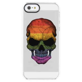 Customizable Skull with Gay Pride Rainbow Flag Clear iPhone SE/5/5s Case