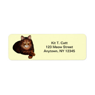 Customizable Sleeping Brown Tabby Cat Avery Label Return Address Label