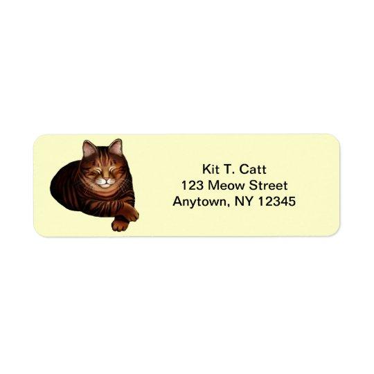 Customizable Sleeping Brown Tabby Cat Avery Label Return Address Label
