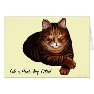 Customizable Sleeping Brown Tabby Cat Card