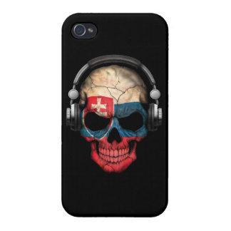 Customizable Slovakian Dj Skull with Headphones iPhone 4 Cover