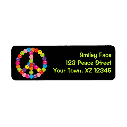 Customizable Smiley Peace Return Address Label