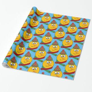 Customizable Smiling Snowman Emoji Wrapping Paper