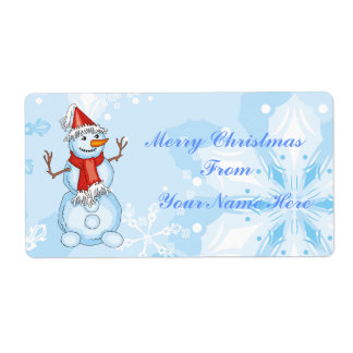 Customizable snowman on snowflakes gift labels
