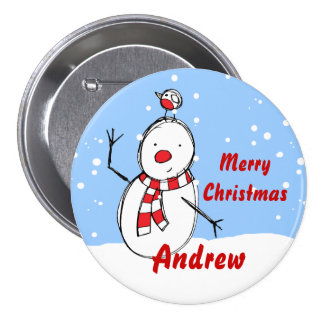 Customizable Snowman xmas party name Button badges
