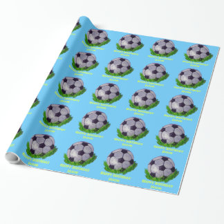 Customizable Soccer ball on grass Wrapping Paper
