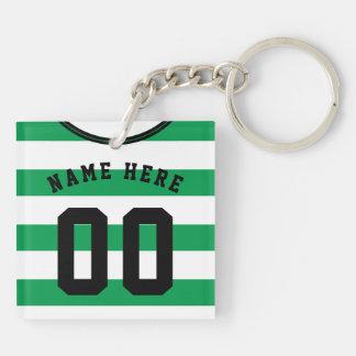 Customizable Soccer Jersey Keyring, Green Stripes Keychain