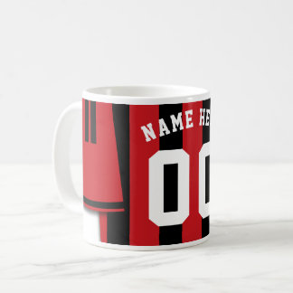 Customizable Soccer Jersey Mug, Black Red Stripes Coffee Mug