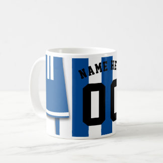 Customizable Soccer Jersey Mug, Blue Stripes Coffee Mug
