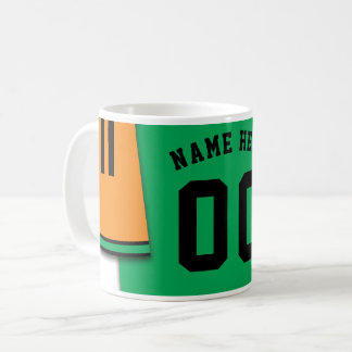 Customizable Soccer Jersey Mug, Orange & Green Coffee Mug