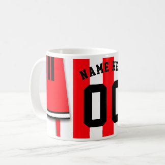 Customizable Soccer Jersey Mug, Red Stripes Coffee Mug