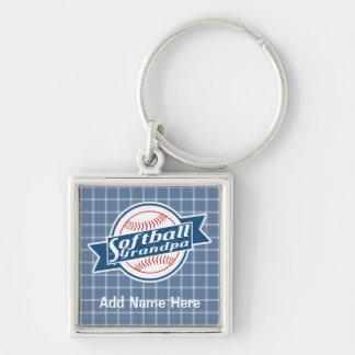 Customizable Softball Grandpa Keyring Silver-Colored Square Keychain