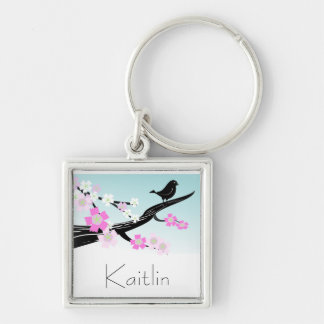 Customizable sparrow bird cherry blossoms graphic keychain