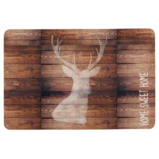 Customizable Spray Painted Deer on Wood Floor Mat