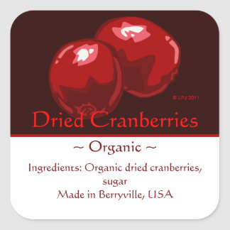 Customizable Square Cranberry Stickers