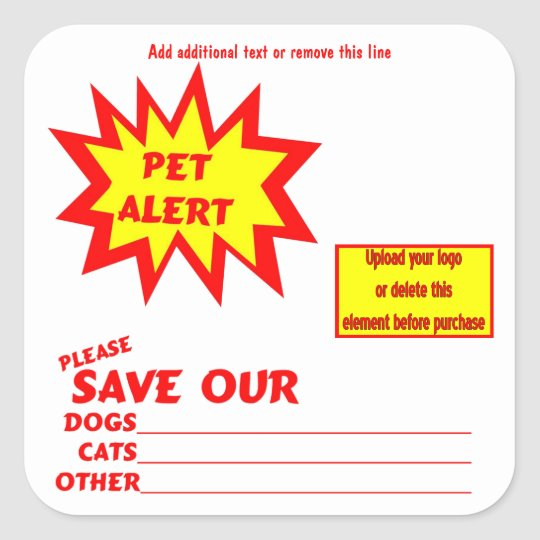 Customizable Square Emergency Pet Alert Stickers