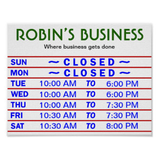 Customizable Store Hours Sign w/ YOUR Store Name!