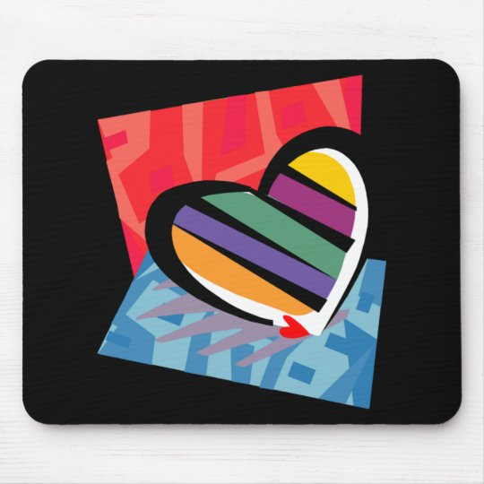Customizable Striped Valentine Heart Mouse Pad