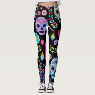 customizable sugar pop skull leggings