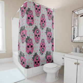 customizable sugar pop skull shower curtain