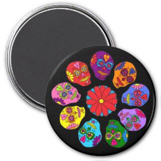 Customizable Sugar Skull Flower Magnet