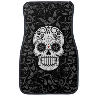 Customizable Sugar Skull with Gray Vines and Roses Car Mat