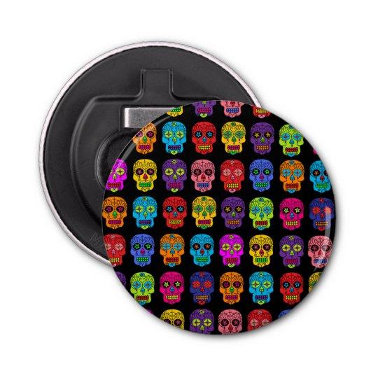 Customizable Sugar Skulls Button Bottle Opener
