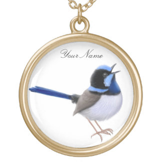 Customizable Superb Fairy Wren Necklace