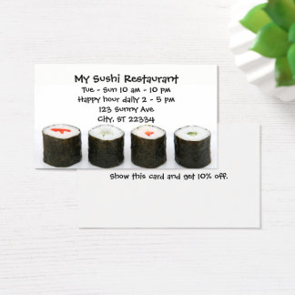 Customizable Sushi Restaurant Business Card