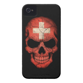 Customizable Swiss Flag Skull iPhone 4 Cover