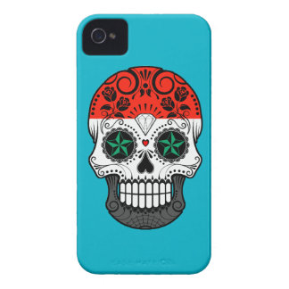 Customizable Syrian Flag Sugar Skull with Roses Case-Mate iPhone 4 Case